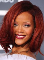 Rihanna Middle Length Straight 100% Human Hair Bob Hair Hairstyle Lace Front Wigs 12 Inches