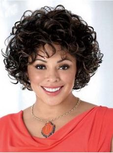 African American Kinky Curly Capless Synthetic Wigs 10 Inches