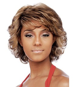 African American Women Short Loose Wave Human Hair Capless Wigs 10 Inches