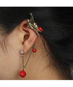 Vintage Colored Drop Designed Bird Decorated Cuff Earring