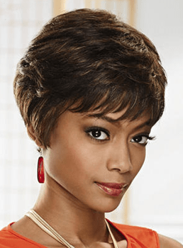 African American Short Layered Boy Cut Hairstyle Human Hair Mono Wigs