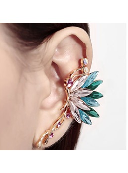 Stylish Butterfly Shaped Crystal and Diamond Cuff Earring