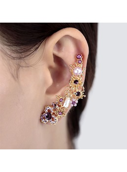 Sharp Colored Rhinestone Decorated Cuff Earring