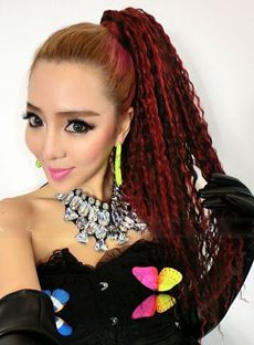 Long Kinky Curly Multi Color Fashion Ponytail
