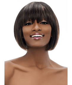 Bob Hairstyle Full Bang Short Straight Synthetic Capless Wigs about 10 Inches for Black Women