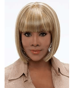 Black Women Silky Straight Bob Hairstyle Full Bang Human Hair Capless Wigs 10 Inches