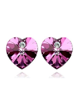 Elegant Heart Shaped Crystal and Diamond Designed Stud Earring