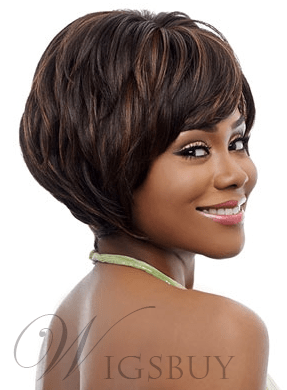 Full Bang Bob Hairstyle Short Straight Synthetic Capless Wigs about 10 Inches