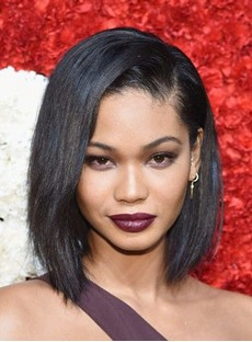 Chanel Iman Asymmetrical Bob Haircut Human Hair Lace Front Wigs for Black Women 12 Inches