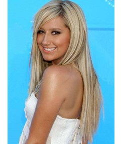Celebrity Long Straight Hairstyle Full Lace Human Hair Wig 20 Inches