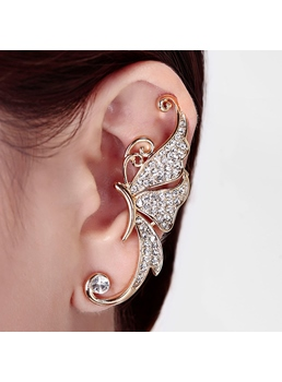Elegant Butterfly Rhinestone Decorated Ear Cuff