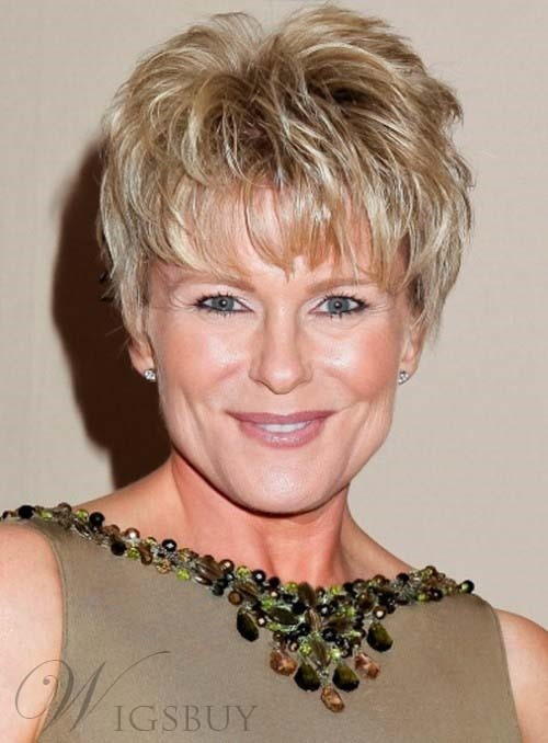 Short Layered Pixie Hairstyle Full Lace Human Hair Wigs for Older Women