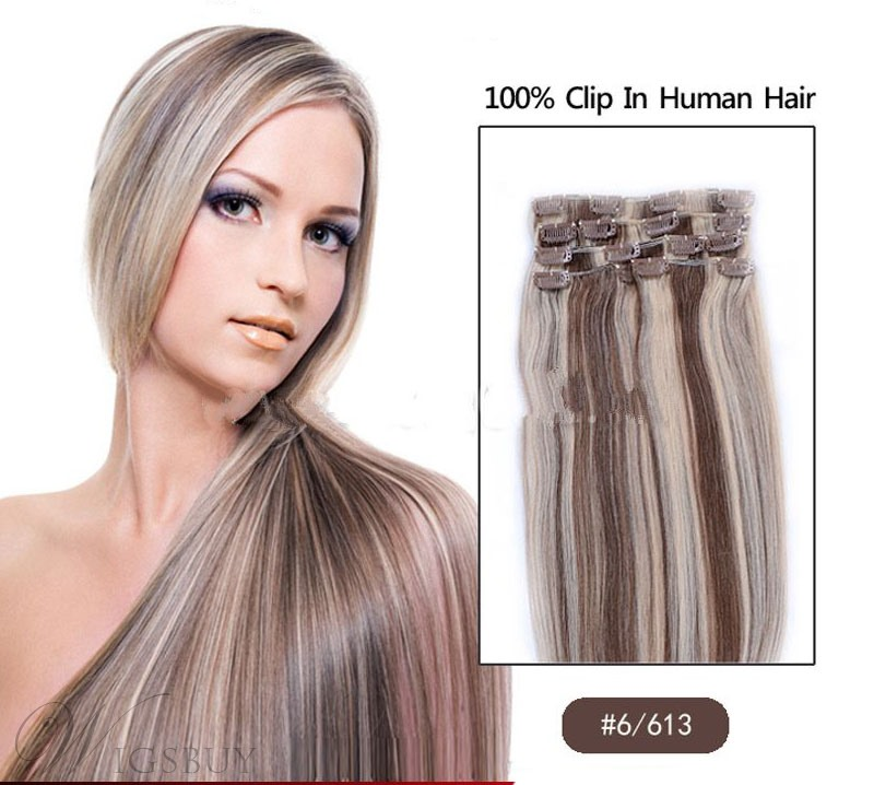 6613 18 Inches 7 Pcs Clip In Human Hair Extensions Wigsbuy