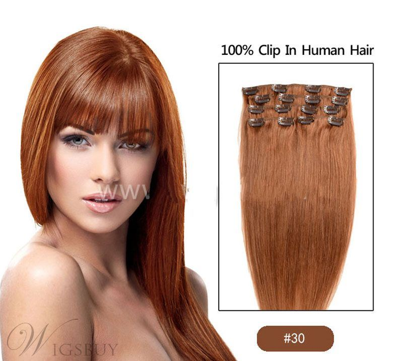 Long Straight Clip In Human Hair Extensions 7 PCs 20 Inches