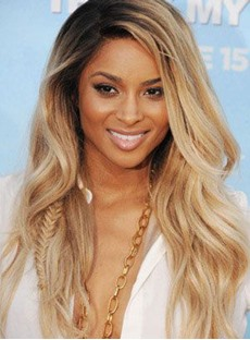 Beyonce Hairstyle Long Natural Wave Synthetic Lace Front Wigs 22 Inches