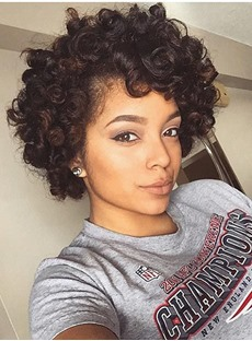 African American 100% Human Hair Kinky Curly Lace Front Wigs 10 Inches