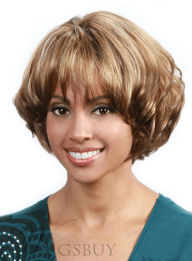 African American Women Short Curly Layered Bob Hairstyle Full Bang Capless Synthetic Wigs 10 Inches