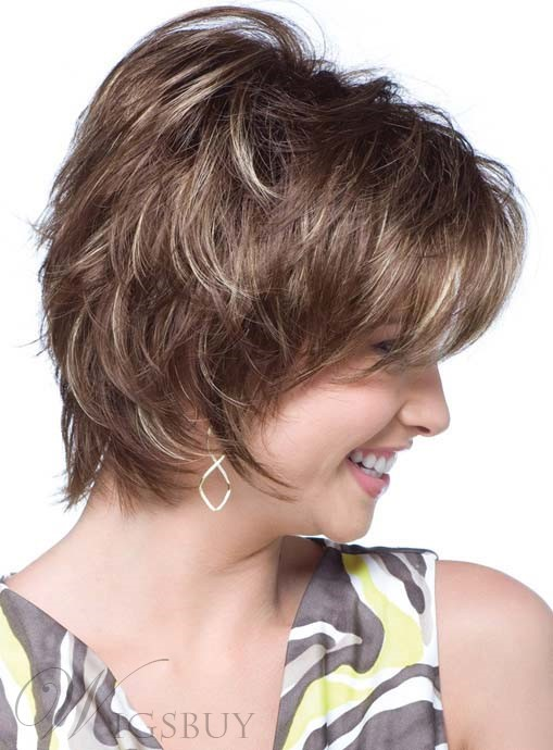 New Arrival 12 Inches Short Layered Straight Mono Top Synthetic Wig