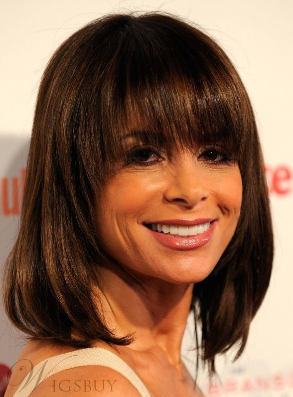 Short Straight Bob Hairstyle Full Bang Capless Synthetic Wigs 12 Inches