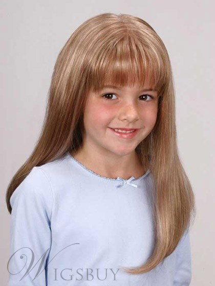 Stylish Medium Blonde Capless Human Hair Kid's Wig 18 Inches