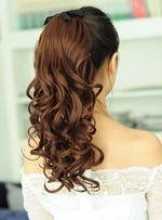 Natural Looking Medium Length Loose Wave Lace-Up Synthetic Ponytail