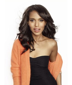 Kerry Washington Sexy Medium Length Loose Wave Lace Front Synthetic Wigs 16 Inches