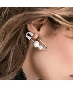 Diamond Paper Clip Pearl Earrings