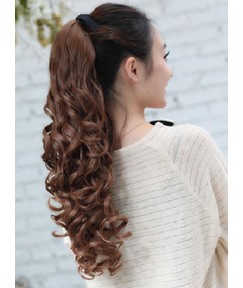 Long Loose Wave Synthetic Lace-up Ponytail