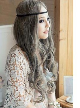 New Trend Long Natural Wave Granny Linen Synthetic Wig 24 Inches