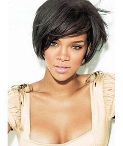 Rihanna Short Straight Boy Cut Hairstyle Capless Synthetic Wigs 8 Inches