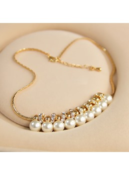 Sweet Pearl & Rhinestone Decorated Necklace