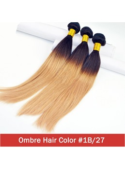 Ombre Hair Straight Virgin Human Hair Weave 3 Bundles 1B/27