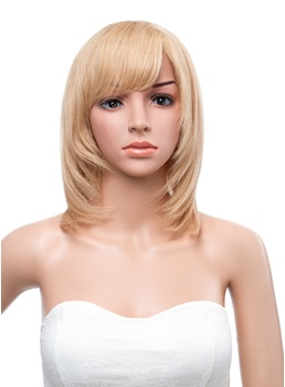 12 Inches Medium Layered Straight Capless Human Hair Wig