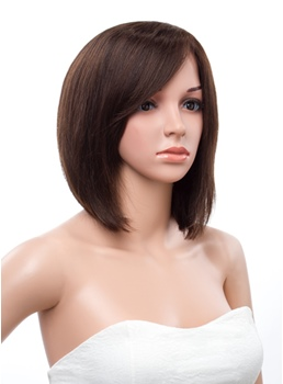 Classic Medium Bob Straight Hairstyle Lace Front Human Hair Wig 12 Inches