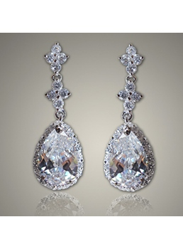 Austrian Crystal Pendant Silver Earrings