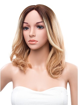 14 Inches Medium Loose Wave Lace Front Mixed Color Human Hair Wig