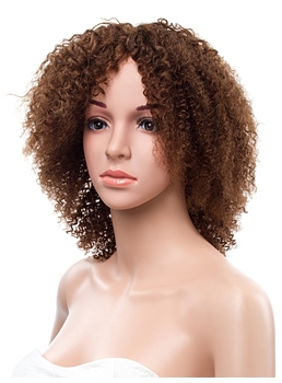 16 pouces Kinky Curly Lace Front cheveux humains perruque