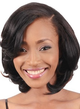 100% Human Hair Bob Hairstyle Middle Length Straight Lace Front Wigs 12 Inches