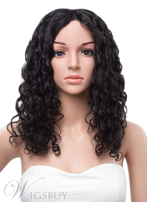 20 Inches Long Curly Lace Front Human Hair Wig 11409859