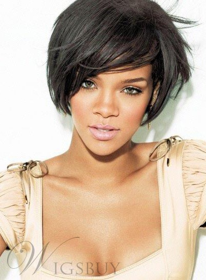 Rihanna Short Straight Boy Cut Hairstyle Capless Synthetic Wigs 8 Inches 11408243