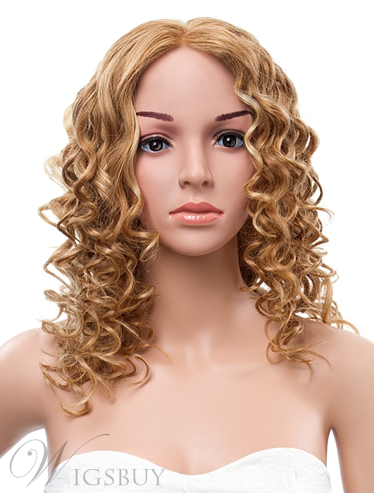 18 Inches Long Curly Lace Front Human Hair Wig 11409895