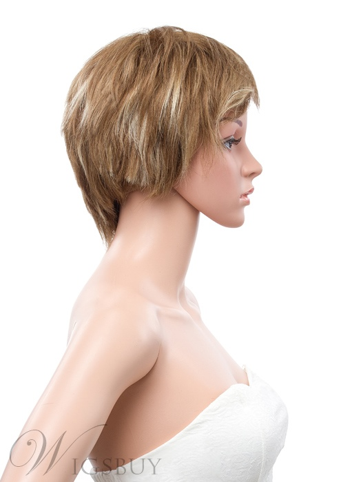 8 Inches Short Layered Straight Full Lace Human Hair Wig