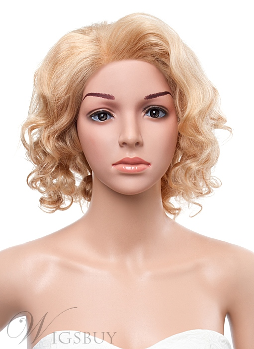 12 Inches Medium Curly Full Lace Human Hair Wig