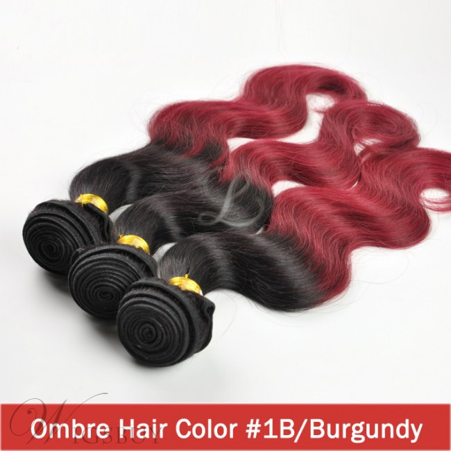 Virgin Remy Ombre Hair Two Tone Color Burgundy Body Wave Hair Weave Extensions 3 PCs