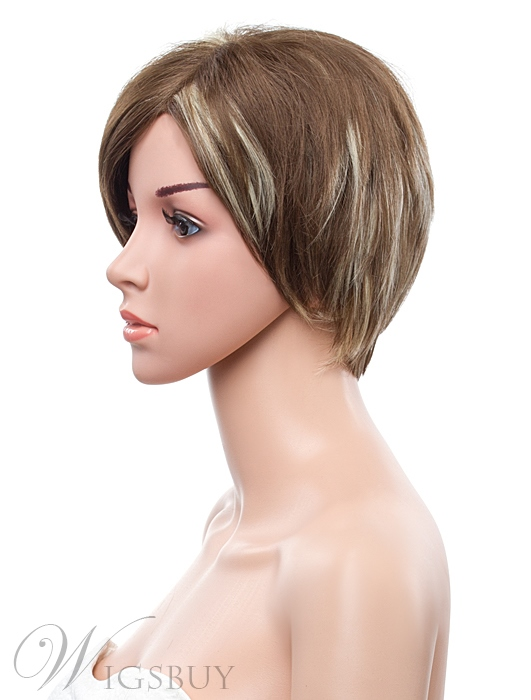 10 Inches Short Straight Mixed Color Lace Front Synthetic Wig