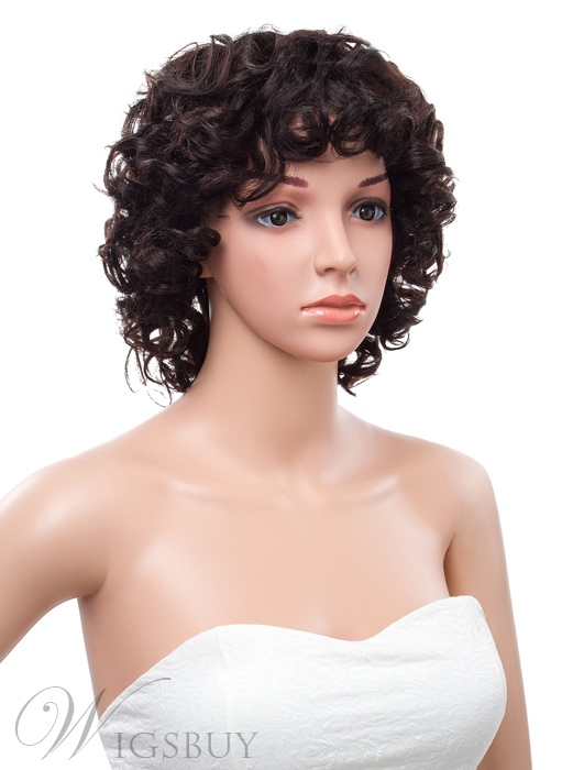 12 Inches Bob Curly Capless Human Hair Wig