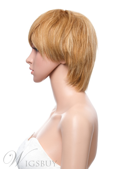 10 Inches Short Straight Capless Human Hair Wig with Full Bang