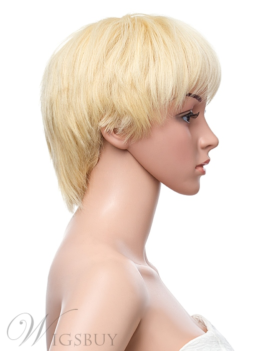 Top Quality Short Straight Full Lace Human Hair Wig 8 Inches