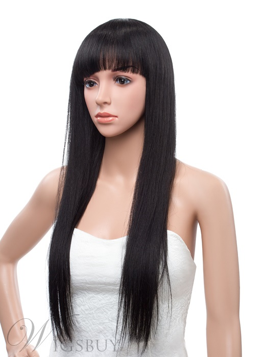 24 Inches Long Silky Straight Capless Human Hair Wig
