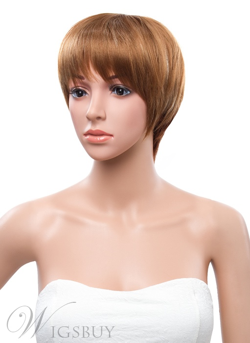 8 Inches Carefree Short Straight Capless Synthetic Wig